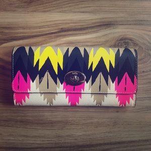 Coach Clasp Wallet ~ Hawk Feather Print